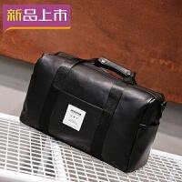 2018男士旅行包手提包大容量旅游出差健身短途皮质防水单肩行李包袋女 经典黑