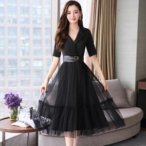 风轩衣度 连衣裙都市气质V领个性韩版修身显瘦纯色甜美蕾丝2018年夏季 2133-8915