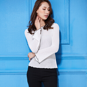 2018春秋韩版套头不规则领长袖纯色打底针织毛衣女装打底衫上衣潮