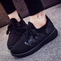 秋天健身鞋子韩版女跑步鞋学生帆布轻便软底休闲运动鞋网面小黑鞋