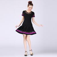 广场舞服装新款套装女夏季莫代尔跳舞衣服舞蹈裙子短裙套装 黑色 配黑色短裙