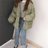 大口袋蝙蝠袖连帽棉衣外套女冬装新款韩版宽松加厚面包服棉袄