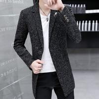 男士外套春季个性风衣男中长款夹克薄款韩版修身帅气妮子大衣潮男 8805黑色 【薄款】