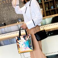 手提包包女2018新款潮韩版个性简约镭射单肩包时尚百搭链条斜跨包