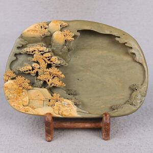 中国非物质文化遗产传承人群 钟景锐作品《富春山居》 砚 绿端
