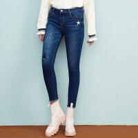 【满1000减750】美特斯邦威冬装新款牛仔裤女修身小脚破洞打底裤显瘦商场款