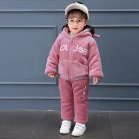 女童金丝绒套装0小童洋气冬装1韩版2女宝宝秋装加绒卫衣3岁婴儿潮巴拉