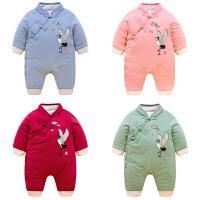 201805062458698女婴儿连体衣服秋冬季0岁3个月1宝宝冬装6新生儿套装棉衣加厚睡衣