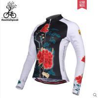 唯美花纹运动服户外休闲开衫骑行服长袖女款上衣山地车自行车服装
