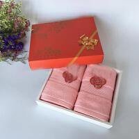 毛巾礼盒棉加厚洗脸面巾大红色喜庆结婚庆回礼 76x35cm