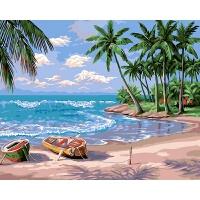 数字油画手绘客厅风景装饰画假日海滩 40*50