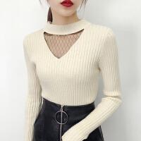冬性感白色打底针织衫女秋装2018新款潮韩版套头修身短款加厚毛衣