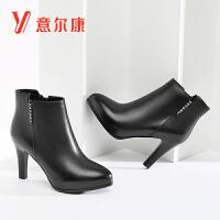 意尔康女鞋2018新款女靴细高跟时尚保暖加绒女短靴踝靴