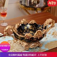 欧式分格带盖干果盘摆件客厅茶几装饰品树脂糖果盒创意零食盘