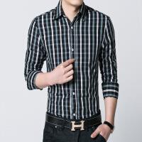 男装夏季男士长袖衬衫黑白格子寸衫韩版衬衣男上衣潮xx