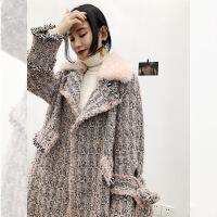 赫本风 森系粗花呢毛呢羊毛大衣女中长款冬季皮草外套女2018新款
