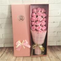 玫瑰康乃馨情人节送男女友生日节日礼物仿真圣诞肥皂香皂花束礼盒 卡其色 18朵粉色