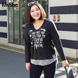 MsShe加大码女装2017新款胖妹妹秋装弹力棉拼接印花t恤M1710463