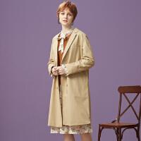 【1件2折到手价:66】美特斯邦威长外套女秋装新款舒适复古西装式外套