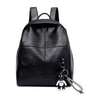双肩包真皮女包2018新款韩版百搭时尚学院风书包羊皮妈咪旅行背包 黑色-送暴力熊