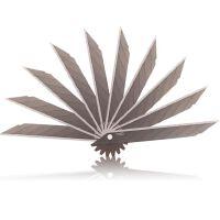 得力2015美工刀片9mm 30度 30°替换刀片 碳素钢 多刀头 10片装