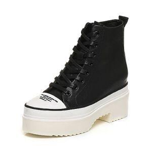 Teenmix/天美意冬专柜同款牛皮个性字母时尚休闲女短靴AO252DD6