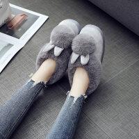 冬韩版卡通球兔棉拖鞋女可爱包跟居家月子棉鞋防滑地板室内保暖鞋