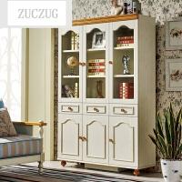 ZUCZUG地中海风格书柜带门 实木 玻璃门大书柜 组装双门二三门书柜2 3门 SG201 三门书柜