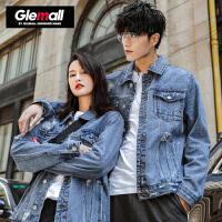 森马潮牌GLEMALL 青少年字母印花牛仔外套情侣水洗破洞做旧复古夹克