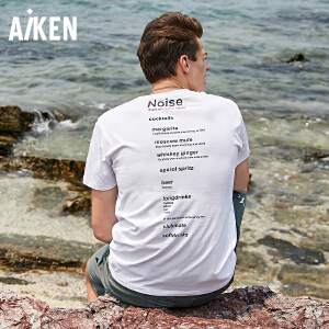 Aiken男装2018夏季新品T恤纯白色潮流印花大码时尚半袖纯棉体恤