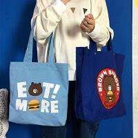 韩国女包可爱软妹卡通帆布包 女生单肩包手提包学生购物袋环保袋