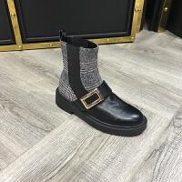 秋季新款短筒靴低跟圆头牛皮呢子拼接套脚休闲女靴