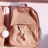 韩版双肩包女背包防水森系小清新纯色书包中大学生女