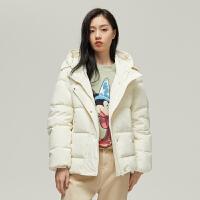 【1件2.5折价:279.8】MECITY女装冬季白色短款连帽防风袖羽绒服