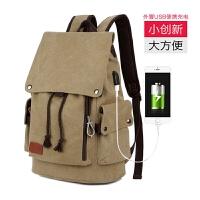 韩版男士背包休闲双肩包男时尚潮流帆布男包学生书包旅行包电脑包