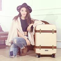 复古行李箱韩版拉杆箱20寸万向轮登机箱旅行硬箱24寸扩展密码箱子 米白色 扩展层