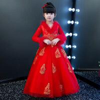 花童礼服女童红色生日公主裙主持人钢琴演出服儿童加绒加厚婚纱冬 红色