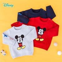 【2件3.5折到手价:76.3】迪士尼Disney童装 男童纯棉针织衫秋季新款可爱米奇圆领保暖毛衣193S1259