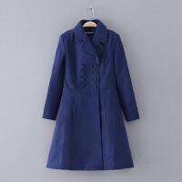 227 女装 冬季新款纯色翻领修身长袖休闲外套女式毛呢大衣