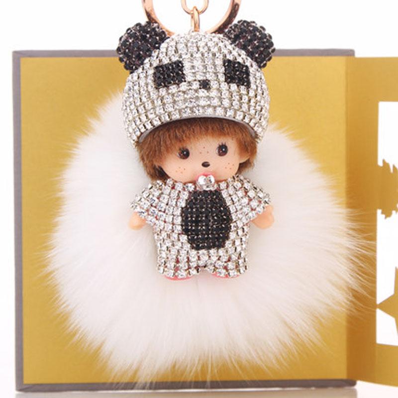 钥匙挂件女士可爱狐狸毛绒球 娃娃钥匙扣汽车