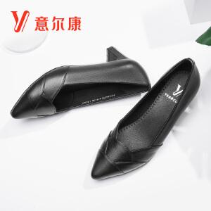 【真皮时尚粗跟】意尔康女鞋2018秋季新款女士单鞋