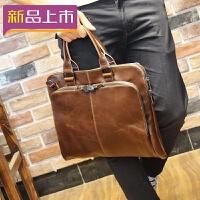 2018新款牛皮包包 真皮锁扣手提包单肩斜挎包多功能 韩版公文包电脑包 黑色