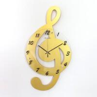 音乐音符挂钟客厅装饰时尚创意钟表静音艺术钟个性石英钟时钟 大号金色+配套墙贴 35厘米表盘 20英寸(直径50.5厘米