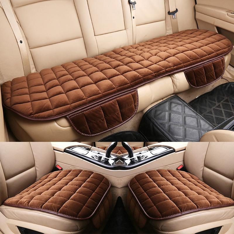 汽车坐垫冬季三件套单片短毛绒无靠背后排座垫保暖冬天车垫子单座