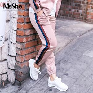 MsShe大码女装胖妹妹裤子侧条纹拼接松紧腰休闲运动裤M1730282