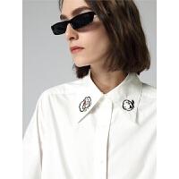 初语年冬季新款大力水手IP系列衬衫女卡通印花宽松翻领上衣