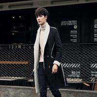 秋冬风衣男外套韩版皮毛一体修身长款披风中长款学生大衣帅气
