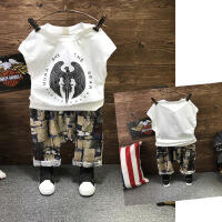 夏季童装套装 男童印花背心+几何印花7分裤垮裤两件套B7-A35