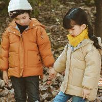 花样童依 儿童棉衣中小童韩版连帽加厚羽绒短款男女童外套棉袄