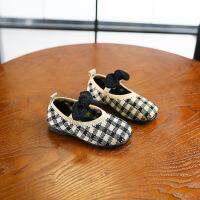 女儿童休闲单鞋2019春款韩版格子公主皮鞋软底宝宝舞蹈鞋